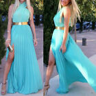 Sexy Women Halter Cross Party Club Evening Cocktail Maxi Long Pleated Dress New