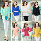 Women's Loose Chiffon Tops Long Sleeve Shirt Pleated Casual Blouse 7 Colors