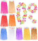 LONG 80CM HAWAIIAN HULA SKIRT AND 4 PC LEI SET LADIES LUAU FANCY DRESS COSTUME