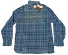 Double Ralph Lauren RRL Mens Blue Sun Faded Flannel Button Polo Shirt New  L XL
