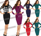 Womens Elegant Cotton Tunic Business Casual Wear To Work Party Pencil Dress 703