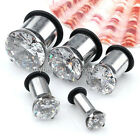 Cubic Zirconia Stainless Steel Ear Tunnel Plug Expander Stretcher Gauge 4-12mm