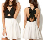 sexy Woman Sleeveless Strap Dress Short Chiffon Skirt Clubwear Bowknot Bandage