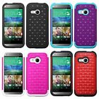 Hybrid Spot Diamond Bling Cell Phone Case Skin Cover For HTC One M8 mini