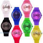 Unisex Ladies Women Black Silicone Rubber Quartz Analogue Sport Wrist Watch