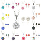 Crystal Rhinestone Fashion Ear Stud Earrings Necklace Set For Party 12 Colors