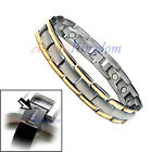 MEN'S 2 TONE MAGNETIC TITANIUM POWER GOLF BRACELET T11