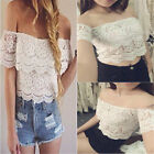 Sexy Women's Lace Crochet Tee Off-Shoulder Tank T-Shirt Casual Blouse Tops white
