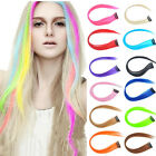 Long straiht Lot Clip in Synthetic Grizzly Hair Extensions 12color Select bAP09