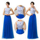 New Elegant Long Maxi Blue Satin Tulle Ball Gown Bridal Evening Prom Party Dress