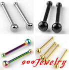 10pc Stainless Steel Nose Ring Bar Stud Barbell Bones Tragus Ball Body Piercing