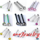10pc Stainless Steel CZ Crystal Bar Barbell Nose Ring Stud Tragus Body Piercing