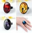 Faceted Oval Crystal Glass Black Charm Lady Finger Ring US7 Adjustable Jewelry