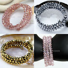 Lady Crystal Glass Faceted Rondelle Beads Wrap Charms Bracelet Bangle Gift