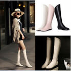 Womens Elegant Leather Flat Punched Detail Back Zipper Riding Knee High Boots
