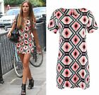 Lucy Watson Celeb Dress Celebrity Aztec Print Flared Mini Tunic Summer Short Top