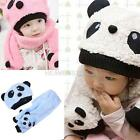 Toddler Baby Girl Boy Cap Cute Panda Kids Hat + Scarf Set Keep Warm    hv2n