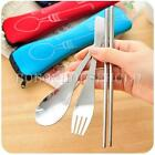 3 in 1 Portable Stainless Steel Chopstick Fork Spoon Set Kit Tableware Cutlery