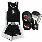 KIDS BOXING SHORTS & TOP SET 2 PIECES 5-12 YEARS OLD WITH BOXING GLOVES (1001)