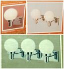 Hard-to-Find CHROME Wall Fixture NEW Sconce w/ WHITE GLASS BALL 1, 2 or 3 Lights