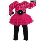 AnnLoren Girls Hot Pink Blossom Tulle Pants Clothing Outfit 12/18m - 9/10
