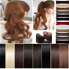 HOT sale any color Straight Curly tie up clips in ponytail hair Extensions CA wm