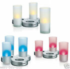 Rechargeable LED Glass Candle Lights Battery Operated Flameless Flickering Light