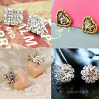 Hot 4 Styles Square Queen Crown Heart Leopard Sweet Heart Snow Flower Earrings