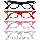 1950'S ROCK N ROLL GLASSES BLACK RED PINK WHITE 50S FANCY DRESS COSTUME ACCESORY