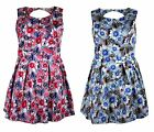 Womens Ladies Plus Size Floral Flower Multi Printed Cut Out Skater Dress