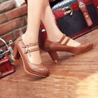 Womens Vintage Brogue Leather mary Jane High Thick Heel Court Shoes Plus Size