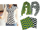Women 156 x 70 cm Checker Pattern Emulation Silk Chiffon Scarf Shawl Neck Wrap