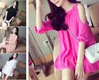 New Women's Sexy Chiffon Dress Party Evening Cocktail Short Mini Dress Loose Top