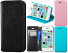 For Apple iPhone 5C Premium Wallet Case Pouch Flap STAND Cover + Screen Guard