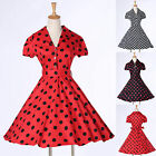 Short Sleeve Housewife Vintage Retro 50s Polka Dots Swing Party Rockabilly Dress