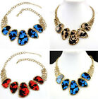 Gothic Metal Chain Irregular Geometry Big Leopard Pendant Bib Choker Necklace