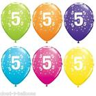 Qualatex 11'' Aged 5 Birthday Latex Balloons Tropical Colours Helium or Air Fill