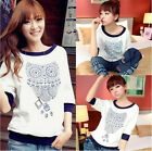 Women New Fashion Cute Owl Printed Casual Loose T-Shirt White Cotton Tops Blouse