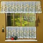 """Cafe Net Curtain Sunflowers White Price Per Metre 19"""" and 27"""" Drop"""