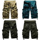 Mens Army military Cargo Combat Camo Cotton Shorts Overall Pants 3 Color #1