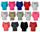NEW WOMENS PLUS SIZE SHORT BATWING SLEEVE JERSEY TUNIC SLOUCH TOP 16-26