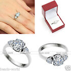Womens Gift Stainless Steel Round Cut CZ Promise Engagement Wedding Finger Ring