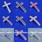 1pc Silver Plated Crystal Cross Connector Curved Side Way Loose Bead Making DIY
