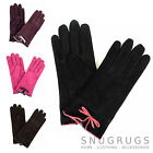 Ladies Suede Gloves with Fleece Lining and Bow Feature