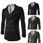 Mens Smart Slim Fit Winter Trench Double Breasted Wool Coat Jacket XS S M L