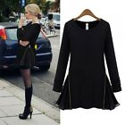 Women Long Sleeve Side Zipper Chiffon Flare Jersey T-shirt Mini Tunic Dress Top