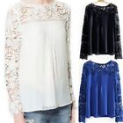 Women Tops Sleeve Embroidery Lace Crochet Tee Chiffon Shirt Top Blouse