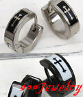 Pair Stainless Steel Cross Ear Hoop Huggie Earrings Punk Rock Unisex Men Women