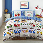 VW Splitscreen Campervans Designer Vibrant Bright Fabric Quilt Duvet Cover