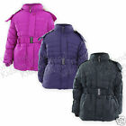 Girls School Coat & Belt Girls Jacket Padded Style Removable Hood  Age 3-13 Year